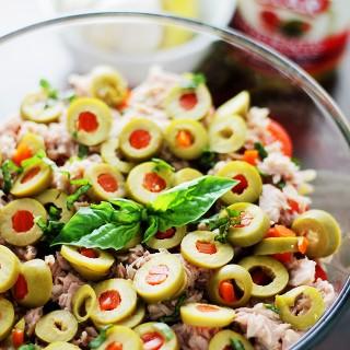 Tuna Pasta Salad with Pimiento-Stuffed Olives