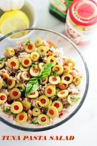 Tuna Pasta Salad with Pimiento-Stuffed Olives | www.diethood.com | A delicious pasta salad tossed together with chunks of tuna, pimiento-stuffed olives, cherry tomatoes and a super flavorful lemon-garlic vinaigrette.