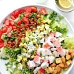 Bacon, Crab and Avocado Salad with Green Onion Yogurt Salad Dressing