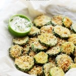 Baked Garlic Parmesan Zucchini Chips | www.diethood.com | Crispy and flavorful baked zucchini chips covered in seasoned panko bread crumbs with garlic and Parmesan.