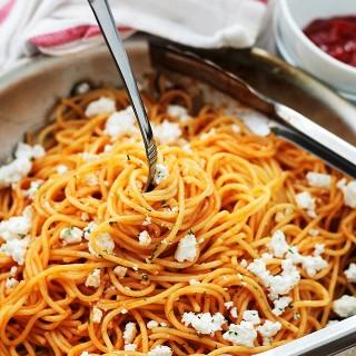 Garlic Pasta with Ketchup and Feta