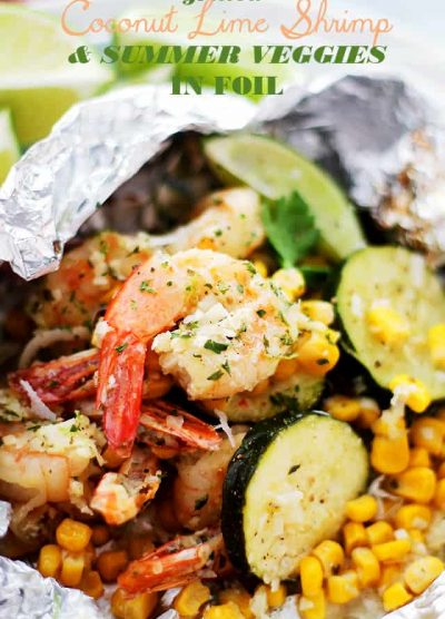 Grilled Coconut Lime Shrimp and Summer Veggies in Foil | www.diethood.com | Corn, zucchini and coconut-lime marinated shrimp grilled in foils makes for one easy, delicious, 30-minute summer dinner!