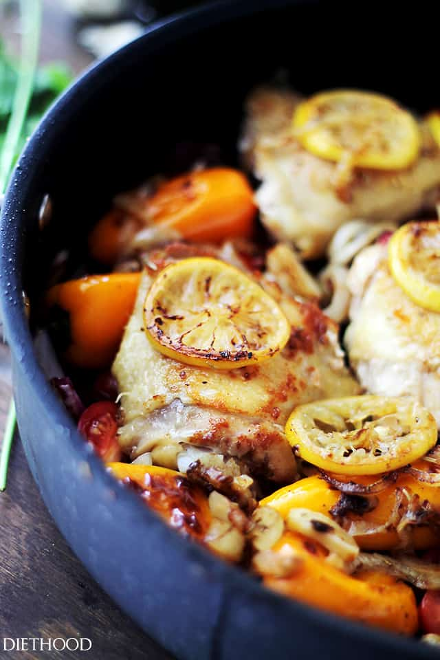 One Pot Lemon-Garlic Chicken and Veggies | www.diethood.com | Tender, garlicky, seared chicken thighs baked with sweet peppers, onions and tomatoes.