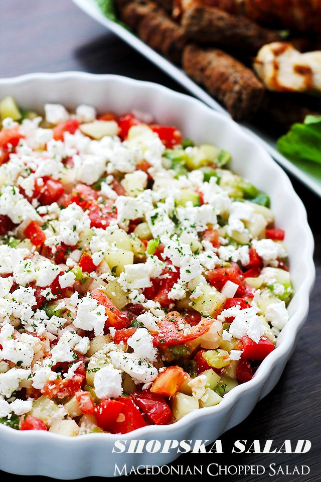 Shopska Salad | www.diethood.com | The Macedonian version of a chopped salad with cucumbers, tomatoes, onions, peppers and white [feta] cheese.