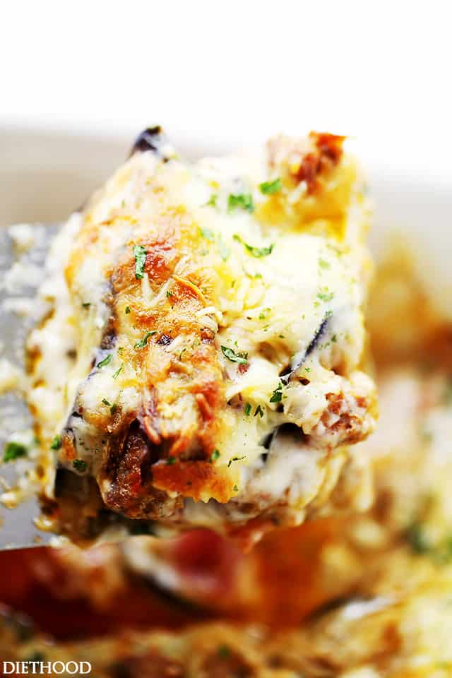Italian Sausage and Eggplant Casserole | www.diethood.com | Layers of delicious Italian Sausage and eggplant slices covered in white (Bechamel) sauce and gooey cheese.