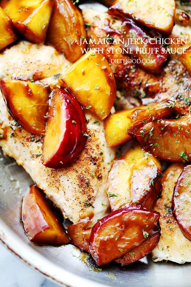 Jamaican Jerk Chicken with Stone Fruit Sauce | www.diethood.com | Easy to make, 30-minute meal including chicken rubbed with homemade jerk seasoning and topped with an incredibly delicious peaches and plums sauce.