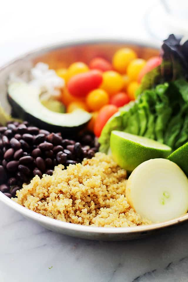 Quinoa Burrito Bowls | www.diethood.com | Healthy, homemade burrito bowls packed with quinoa, beans, tomatoes, and avocado.