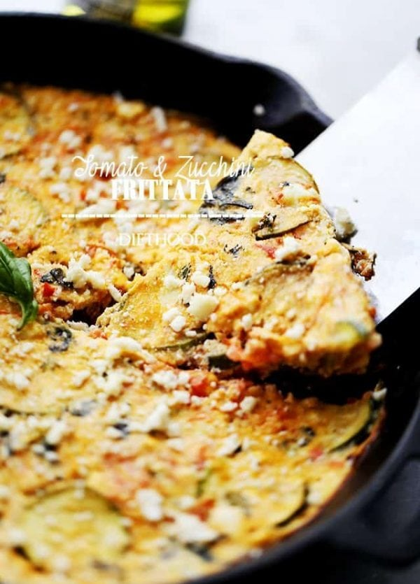 Tomato and Zucchini Frittata | www.diethood.com | Loaded with tomatoes, zucchini, basil and feta cheese, this easy frittata recipe fuses a range of flavors making it the perfect dish for breakfast, brunch, or even dinner.