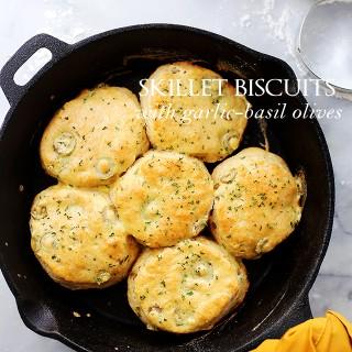 Skillet Biscuits with Garlic-Basil Olives