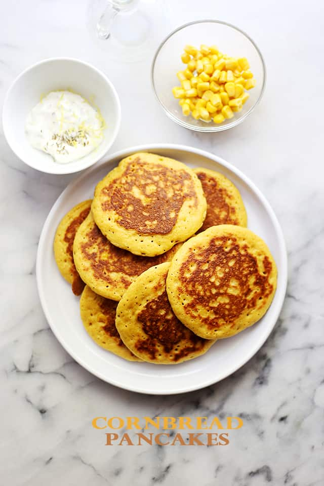 Cornbread Pancakes | www.diethood.com | Moist and soft on the inside, buttery edges on the outside, these pancakes will be your next favorite recipe!