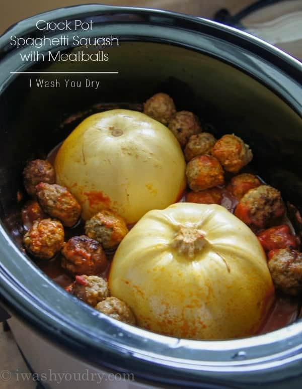 Spaghetti squash and Meatballs in a crock pot