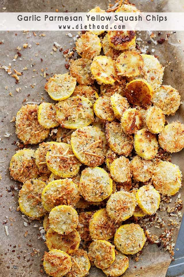Sliced yellow squash with browned garlic and parmesan