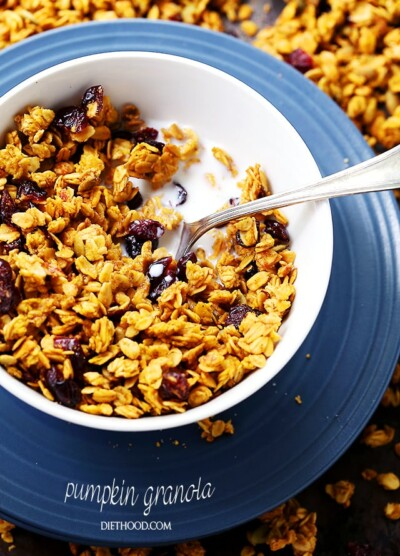 Pumpkin Granola | www.diethood.com | Crunchy and delicious pumpkin granola made with rolled oats, pumpkin puree, Fall spices, pumpkin seeds, and dried fruits. Healthy, quick and SO easy to make!