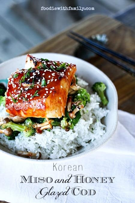 Korean Miso and Honey Glazed Salmon over broccoli and rice in a bowl