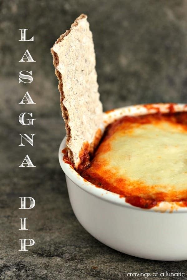 Lasagna dip in a small baking dish