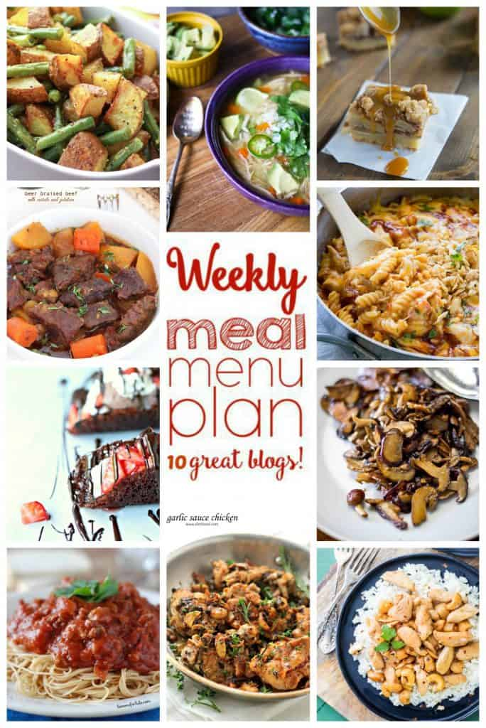 Week 11 Weekly Meal Plan collage with images of 10 recipes