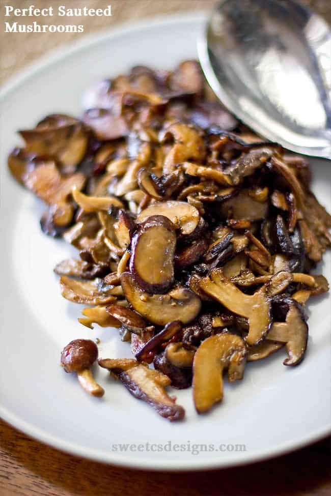 Sauteed mushrooms on a white plate