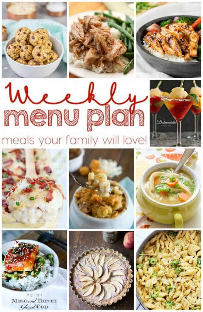 Pinterest collage for Weekly Meal Plan with 10 photos of recipes
