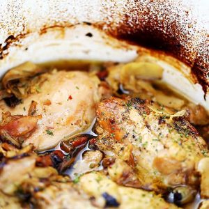 Crock Pot Chicken Thighs with Artichokes and Sun-Dried Tomatoes | www.diethood.com | Melt-in-your-mouth chicken thighs prepared in the crock pot with artichoke hearts and sun-dried tomatoes.
