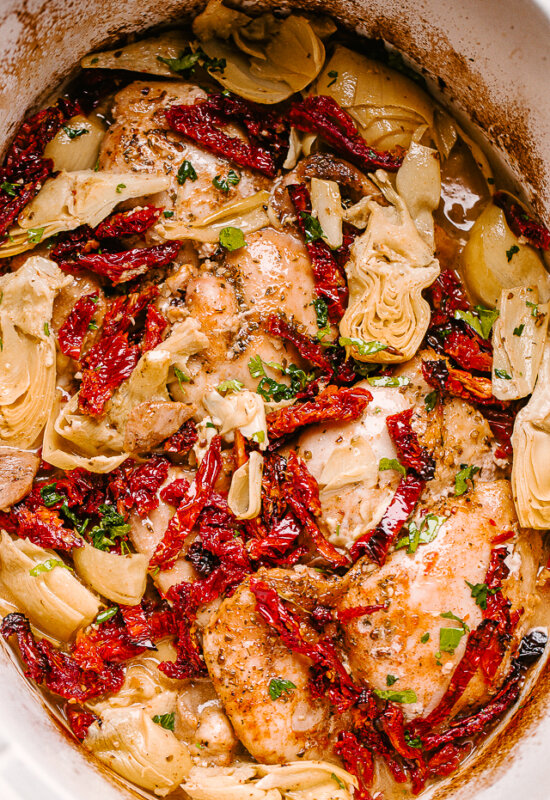 chicken thighs in crock pot with artichokes and sun dried tomatoes