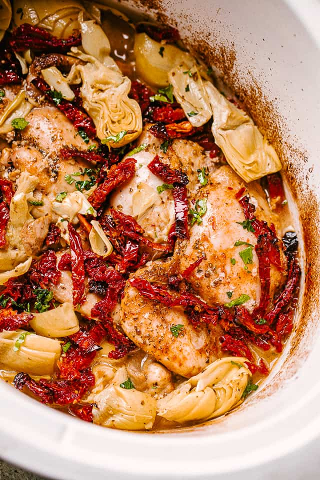 crock pot chicken thighs with artichokes and sundried tomatoes