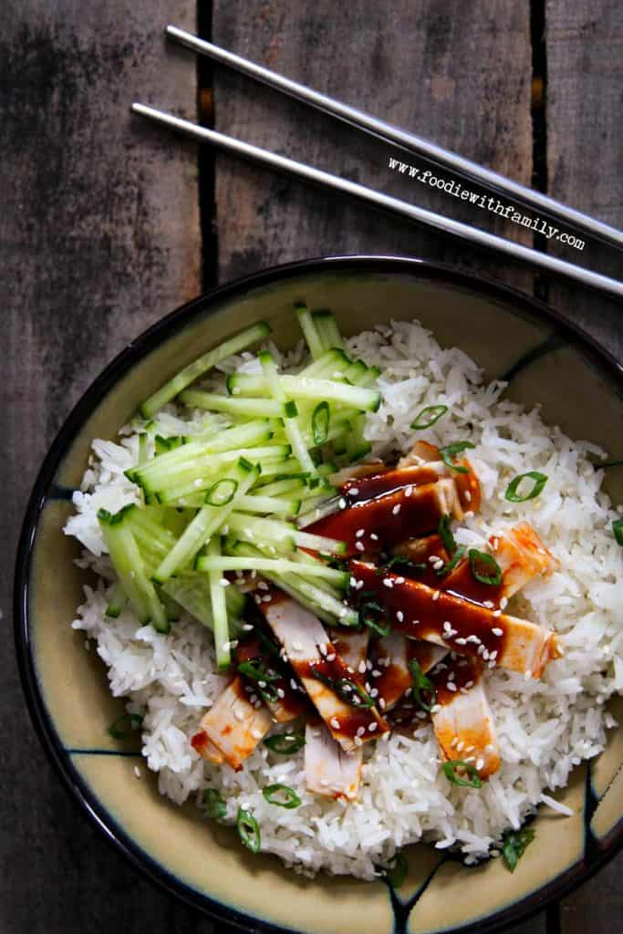 Korean BBQ Pork over rice with julienned cucumbers