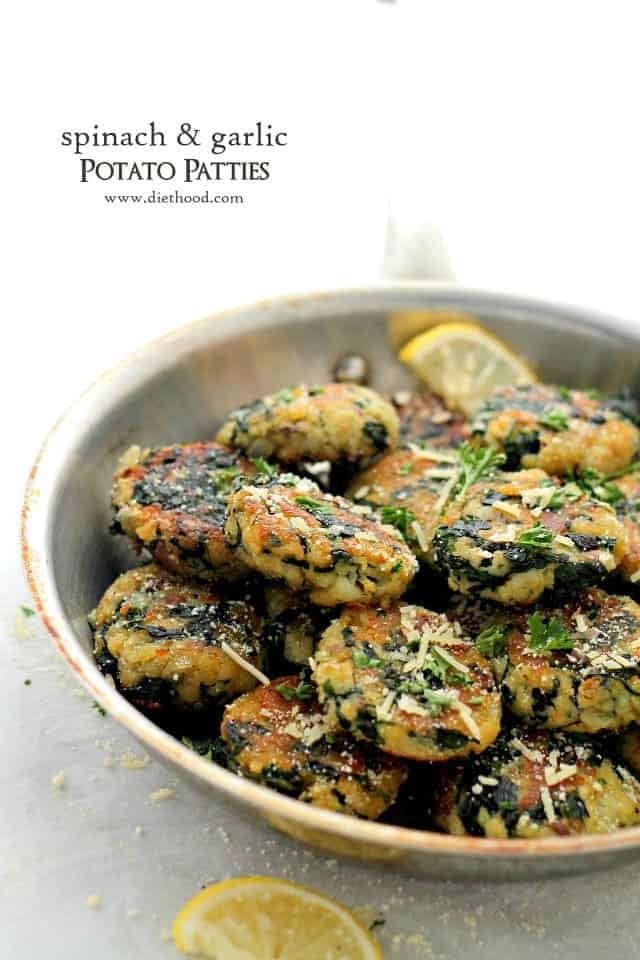 Spinach and Garlic Potato Patties in a deep skillet