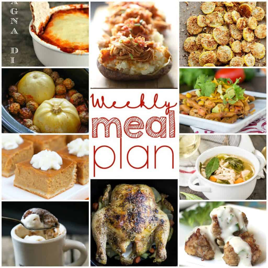 Square collage for Week 9 meal plan recipes