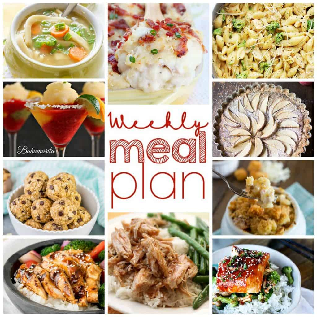 Square collage of Weekly Meal Plan with 10 images of recipes