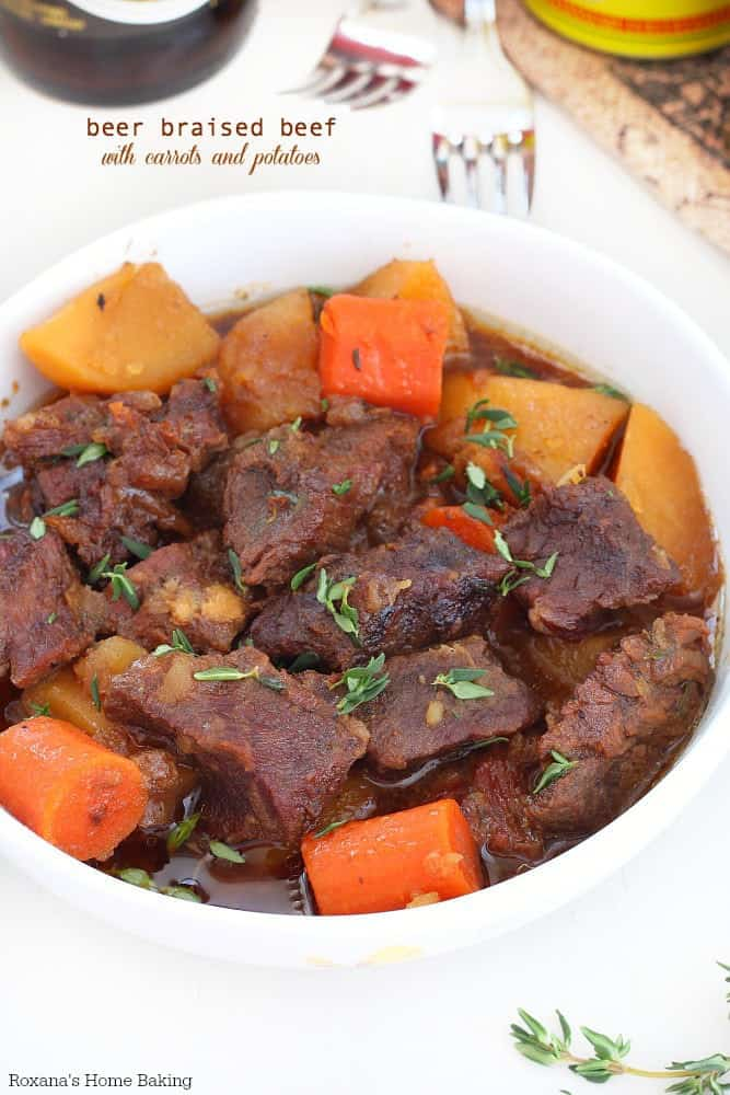 Beer braised beef with carrots and potatoes in a bowl