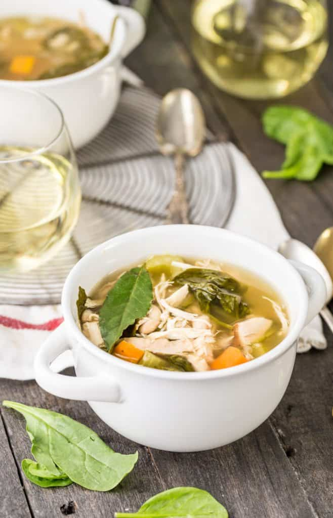 A crock of tuscan chicken soup