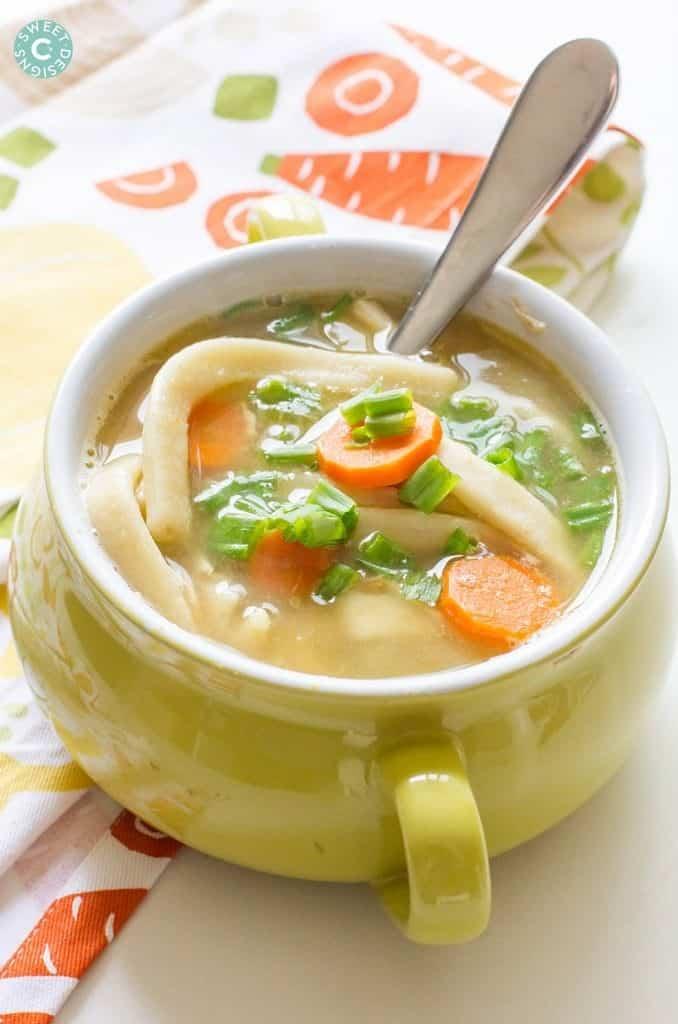 Chicken noodle soup on a crock