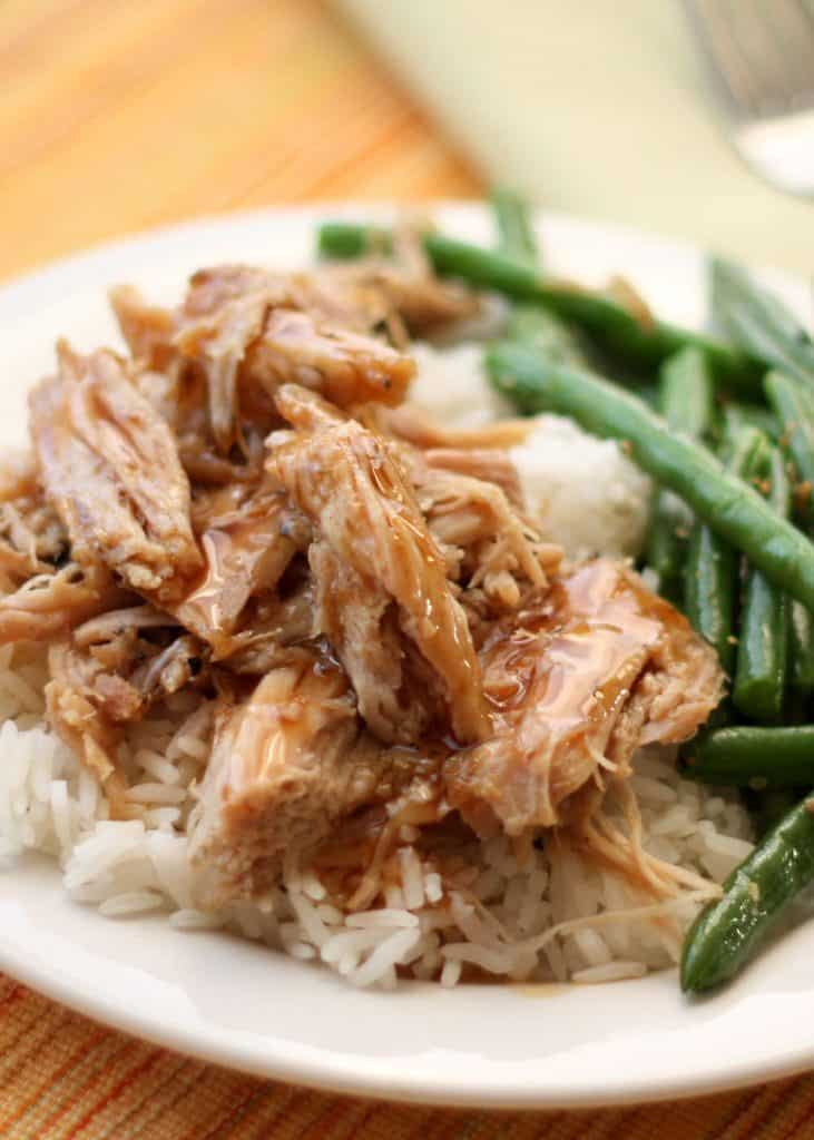 Slow cooked tangy roast pork with green beans and mashed potatoes on a plate