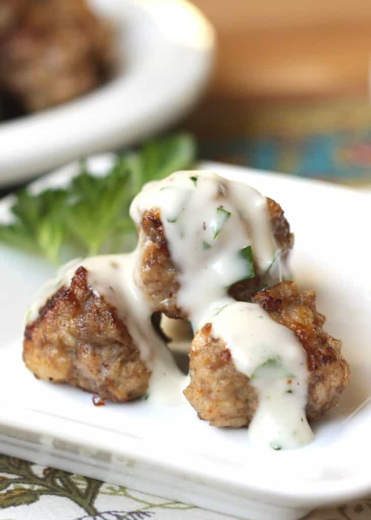 Swedish meatballs with creamy sauce on a plate