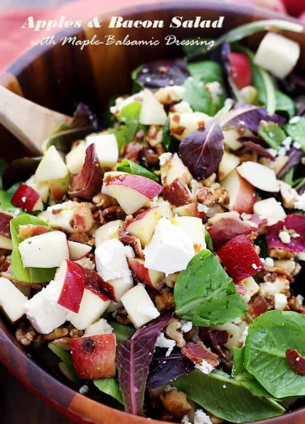 Apples and Bacon Salad with Maple-Balsamic Vinaigrette - Made with apples, bacon, feta cheese, walnuts and a Maple-Balsamic Vinaigrette Dressing, this wonderful Fall-flavored salad is sweet, tangy, crunchy, and beyond delicious!