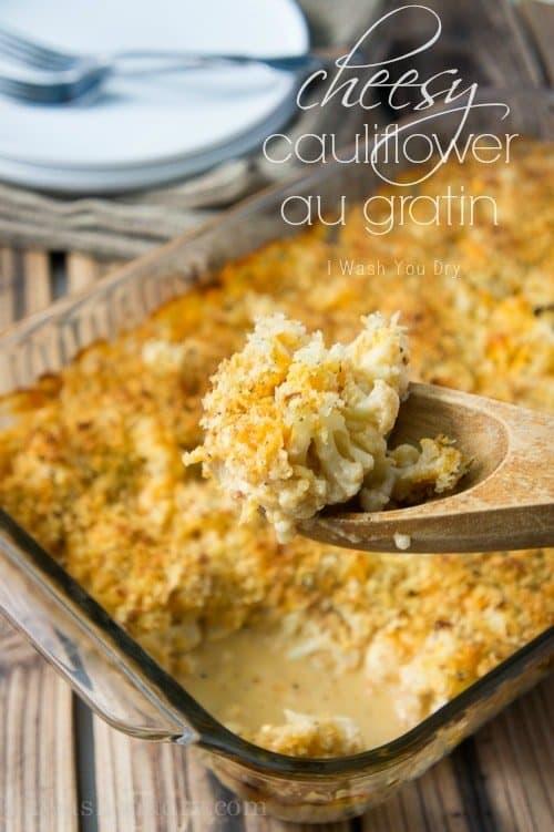 Cheesy Cauliflower Au Gratin in a baking dish