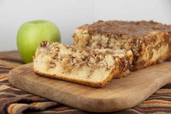 Sliced Cinnamon Apple Pie Bread on a cutting board