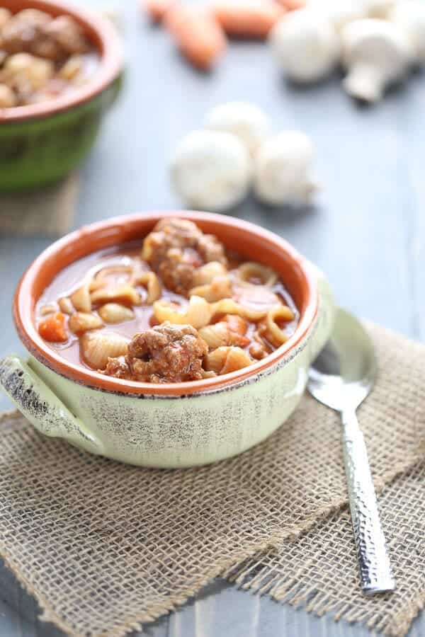 Vegetable soup with meatballs in a bowl
