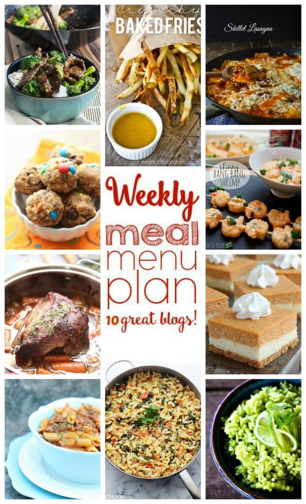 Week 12 meal plan collage of photos of 10 different recipes