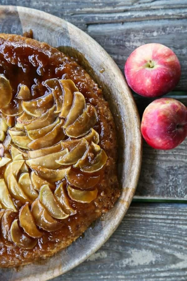 Maple Apple Skillet Upside Down Cake on a plate