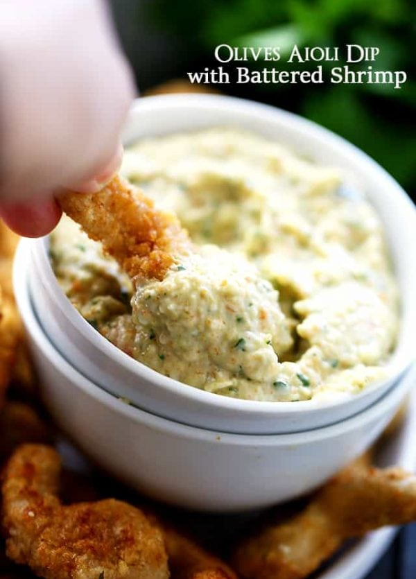 Olives Aioli Dip with Battered Shrimp - Flavorful, creamy and very delicious Olives Aioli Dip served with perfectly crunchy battered shrimp.