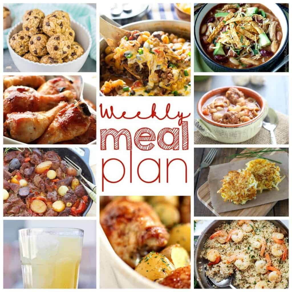 Square collage for Week 13 Meal Plan with examples of 10 recipes
