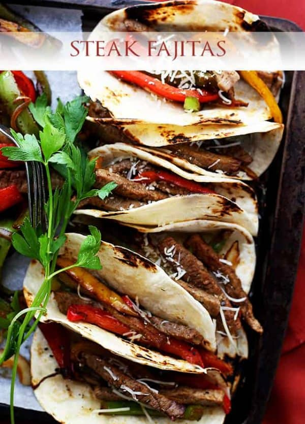 Steak Fajitas – Perfectly seasoned, classic steak fajitas with onions and peppers, wrapped in warm flour tortillas.