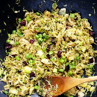 Shaved Brussels Sprouts with Cranberries Stir Fry