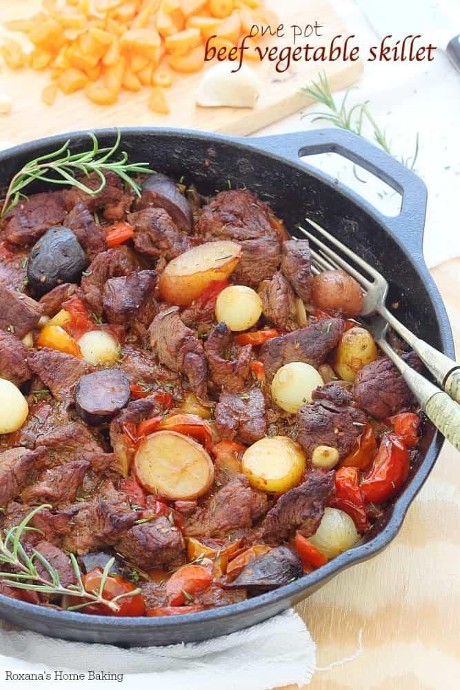 One Pot Beef Vegetable Skillet in a skillet