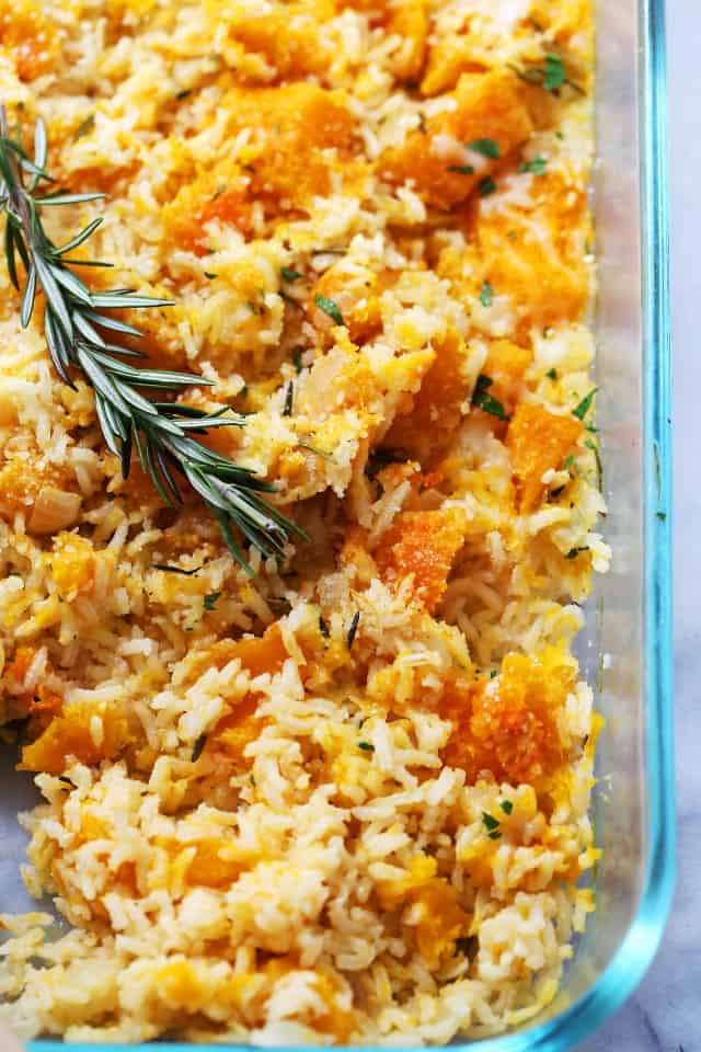 Butternut Squash and Rice Casserole - Healthy, vegetarian, gluten free and delicious, this casserole is the perfect meal, or even side dish, to throw together for any day of the week.
