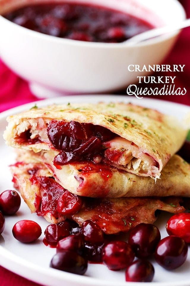 Stacked Cranberry Turkey Quesadillas
