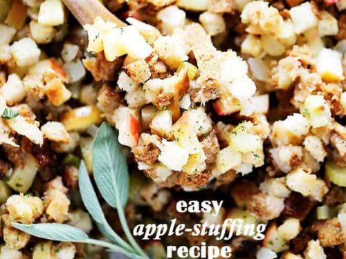Easy Apple Stuffing Recipe Thanksiving Or Christmas Turkey Stuffing