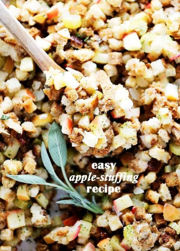 Easy Apple Stuffing Recipe - Very delicious, easy to make turkey stuffing with apples, bread cubes and herbs.