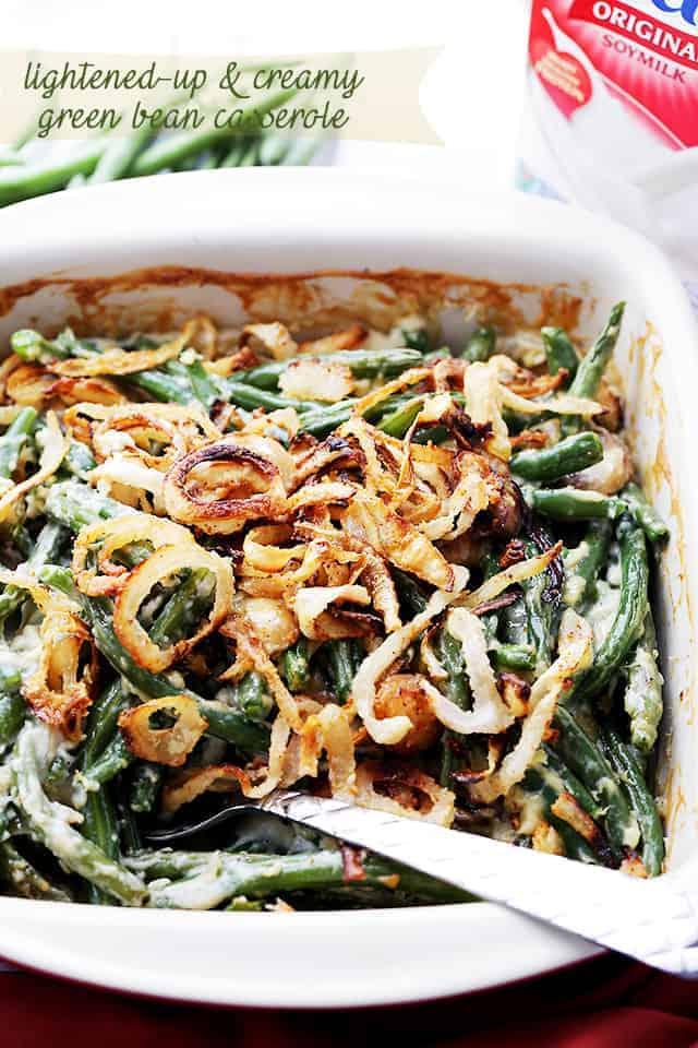 Lightened-Up Creamy Green Bean Casserole Recipe | Thanksgiving Sides